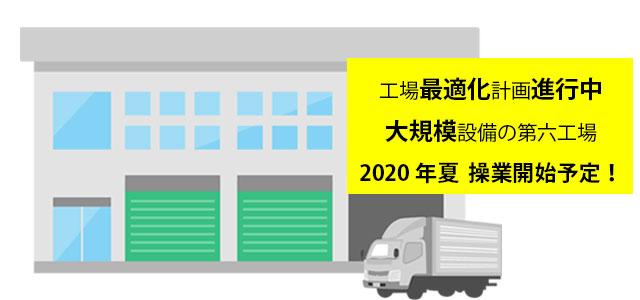 第六工場の建設計画が進行中です。(2020年夏、操業開始予定)